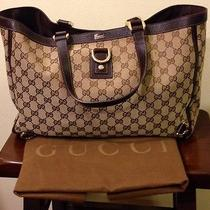 Authentic Gucci Abbey D Ring Signature Canvas and Leather Tote Photo