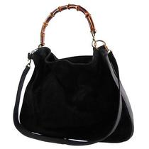 Authentic Gucci Bamboo 2way Hand Bag Black Suede Leather Made in Italy Junk 546 Photo