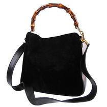 Authentic Gucci Bamboo 2way Shoulder Hand Bag Black Suede Leather Junk 512 Photo