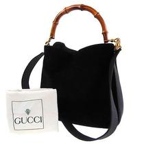 Authentic Gucci Bamboo 2way Shoulder Hand Bag Black Suede Leather Junk 499 Photo