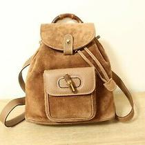 Authentic Gucci Bamboo Brown Suede Leather Backpack Bag 8109 Photo