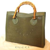 Authentic Gucci Bamboo Hand Bag Green Suede Leather Made in Italy Junk 357 Photo