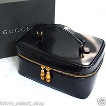 Authentic Gucci Bamboo Vanity Hand Bag Purse Black Patent Leather Italy in Box Photo