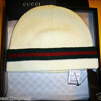 Authentic Gucci Beanie Hat White  Wool & Silk Brand New in Box . Msrp 250  Tax Photo