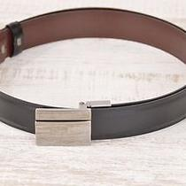 Authentic Gucci Belt Black Leather Chromium Chrome Plated Buckle 38 Inches   Photo