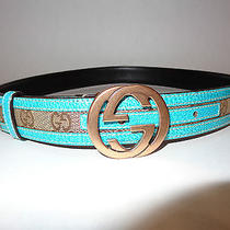 Authentic Gucci Belt Women's 30 Turquoise Blue Trim Made in Italy Buckle Photo