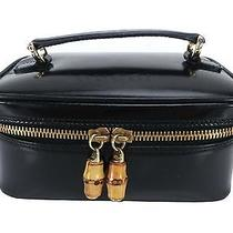 Authentic Gucci Black Leather Cosmetics Vanity Pouch Bag 12646 Photo