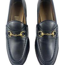 Authentic Gucci Black Leather Horsebit Jordaan Princetown Platform Flats Sz 39 Photo