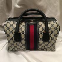Authentic Gucci Boston Dr. Purse Handbag Navy Blue /red Stripe Like New Photo