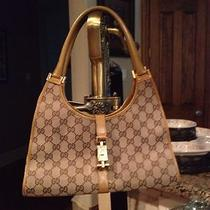 Authentic Gucci Canvas Gg Logo Jackie O Hobo Handbag in Camel Photo