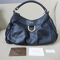 Authentic Gucci 'D Gold' Large Hobo D Ring Black Leather Bag Purse Handbag  Photo