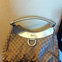 Authentic Gucci D Gold Logo Hobo Fabric With Gold Leather Trim With Dustbag 750 Photo