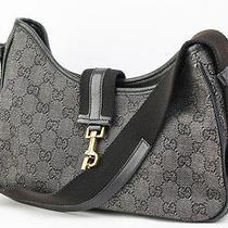 Authentic Gucci Gg Canvas Hobo Shoulder Bag Black 6058 Photo