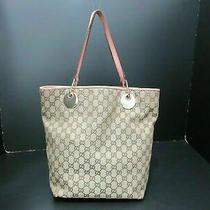 Authentic Gucci Gg Canvas Tote Bag 120836 Canvas Leather Beige Pink 85570 Photo