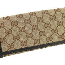 Authentic Gucci Gg Monogram Canvas Wallet With Receipt Photo