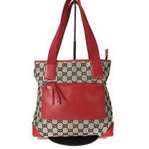 Authentic Gucci Gg Pattern Canvas Leather Red Shoulder Bag Tote Bag Gt0381 Photo