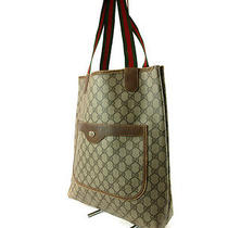 Authentic Gucci Gg Pattern Pvc Canvas Leather Brown Tote Bag Shopper Bag  Photo