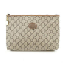 Authentic Gucci Gg Plus Leather Clutch Bag Pouch Beige Brown Used F/s Photo