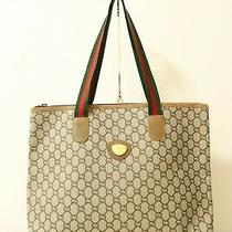 Authentic Gucci Gg Plus Sherry Line Brown Pvc Tote Bag 8112 Photo