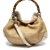 Authentic Gucci Handbag Bamboo Straw Hobo Rare Photo