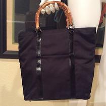 Authentic Gucci Handbag/purse/tote/shopper Black/bamboo Handles Photo