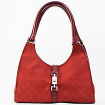 Authentic Gucci Jackie Gg Canvas Red Hobo Shoulder Bag 6062ye Photo