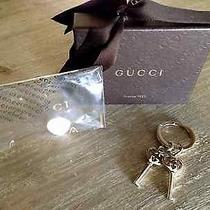 Authentic Gucci Key Ring Holder W/ Logo Key Charms-Gold New W/ Box Made in Italy Photo