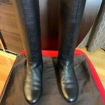 Authentic Gucci Leather Black Tall Boots Sz 345 ( 45 Us) Photo
