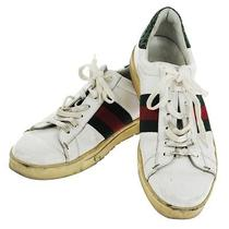 Authentic Gucci Logos Shoes Sneakers White Green Red Leather Italy 40 Lp04627 Photo