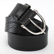 Authentic Gucci Men's Silver Spur Buckle Black Soft Leather Belt 34