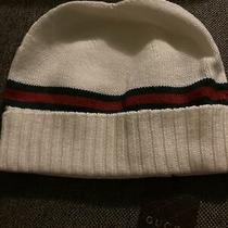 Authentic Gucci Men's Wool Winter Knit Hat Beanie Cream Green Red White Size Xl Photo