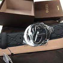 Authentic Gucci Mens Black Guccissima Leather Belt Chrome Gg Nwt 36/90cm 30-32 Photo