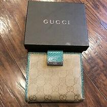 Authentic Gucci Monogram Turquoise Green Leather Bifold Bag Wallet-Rare-1800 Photo
