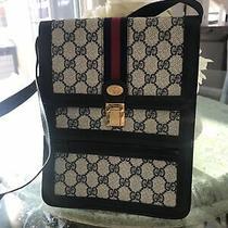 Authentic Gucci Navy Blue Monogram Gg Cross Body Handbag Photo
