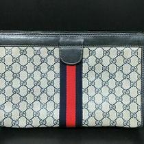 Authentic Gucci Old Gucci Clutch Bag Pvc Leather Ivory Navy 86895 Photo