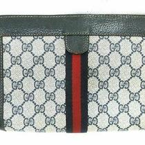 Authentic Gucci Old Gucci Clutch Bag Pvc Leather Ivory Navy 90195 Photo
