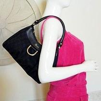 Authentic Gucci Signature Canvas Black Leather Hobo D Ring Shoulder Tote Bag Nwt Photo