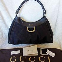 Authentic Gucci Signature Canvas Brown Leather Hobo D Ring Shoulder Tote Bag Nwt Photo