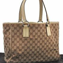 Authentic Gucci Tote Bag Gg Canvas Leather Brown White B0327 Photo