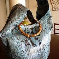 Authentic Gucci Vintage Snakeskin Bamboo Hobo Photo