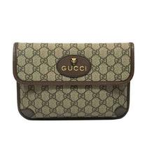 Authentic Gucci Waist Bum Bag 493930 Gg Supreme Beige Brown Used Photo