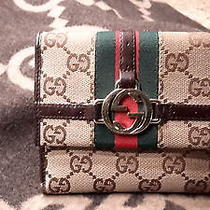 Authentic Gucci Wallet Brown With Tan Canvis Gg Monogram Photo