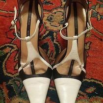 Authentic Gucci Women's 2-Tone White/black Strappy High Heels Sz. 38 Photo