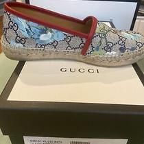 Authentic Gucci Women's Gg Supreme Canvas Blue Bloom Espadrilles Shoe Flats 36 Photo