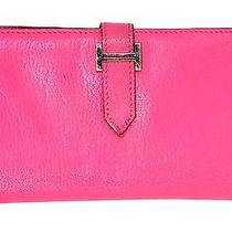 Authentic Hermes '07 Rose Tyrien Pink Chevre Leather H Bearn Wallet Phw Photo