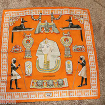 Authentic Hermes 100% Silk Pocket Scarf 'Tutankhamun' - Orange - 42cm Photo