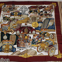Authentic Hermes 100% Silk Scarf 'Automobile' - Wine Red - J Metz Photo