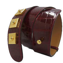 Authentic Hermes 1994 Dark Red Crocodile Leather Belt E4962 Photo