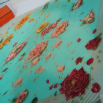 Authentic Hermes 90cm Plisse Silk Scarf Rose Dew Pale Blue & Biege Border  Mint Photo