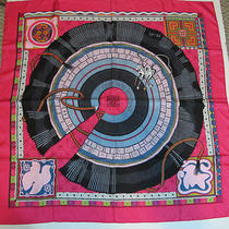 Authentic Hermes 90cm Silk Scarf Cent Pliss Des Miao Rich Raspberry  Mib Photo